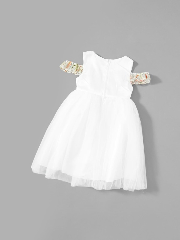 6611a087a028 Toddler Girls Bow Front Floral Embroidered Dress | SHEIN UK