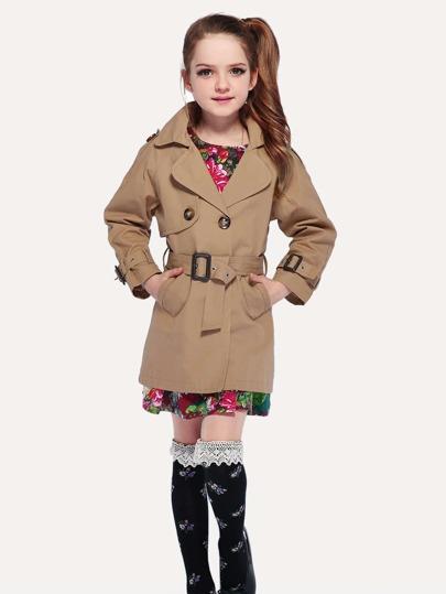 60bbb3aec0 Girls Epaulette Plain Trench Coat With Belt
