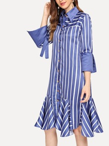 Striped Single Breasted Ruffle Hem Dress