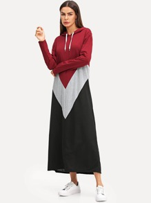Cut & Sew Hoodie Maxi Sweatshirt Dress