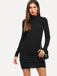 High Neck Solid Skinny Dress