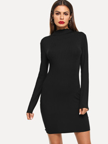 Ribbed Solid Bodycon Dress