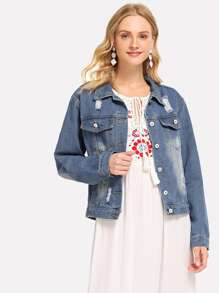 Denim Single Breasted Floral Embroidered Back Jacket