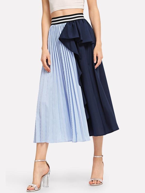 Ruffle Trim Striped Panel Skirt by Sheinside