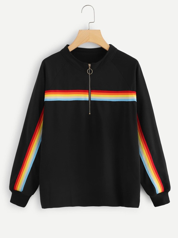 89555f3a7be Plus Quarter Zip Rainbow Striped Sweatshirt