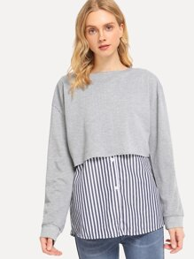 2 In 1 Contrast Striped Hem Sweatshirt