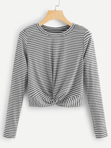 Twist Hem Striped Tee