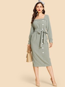 Zip Back Button Up Belted Plaid Dress