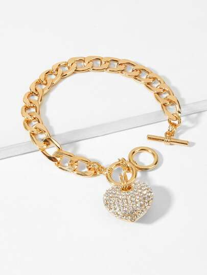 b55cf16e8fc5 Pulsera de cadena con diseño de corazón con diamante de imitación