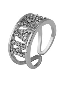 Rhinestone Letter Decorated Layered Ring 1pc