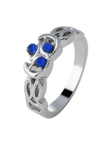 Gemstone Detail Hollow Ring 1pc