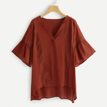 - V Cut Neck High Low Blouse