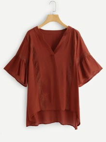 V Cut Neck High Low Blouse