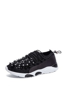 Beaded Lace Up Sneakers