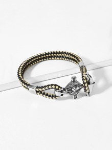 Men Skeleton Detail Layered Bracelet