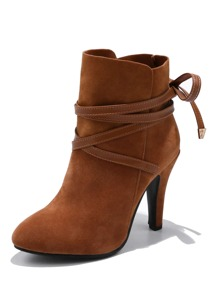 Cross Strap Decor Suede Boots