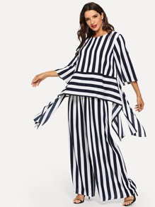 Striped Print Split Asymmetrical Top and Palazzo Pants Set