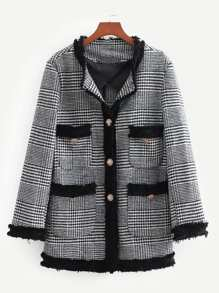 Contrast Trim Wales Check Tweed Blazer