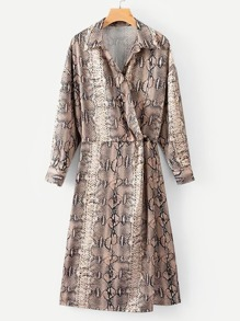 Snakeskin Print Wrap Shirt Dress