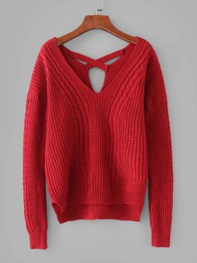 Criss Cross Back Cable Knit Sweater