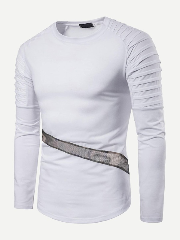 e9884313d3160 Men Contrast Mesh Raglan Sleeve Tee