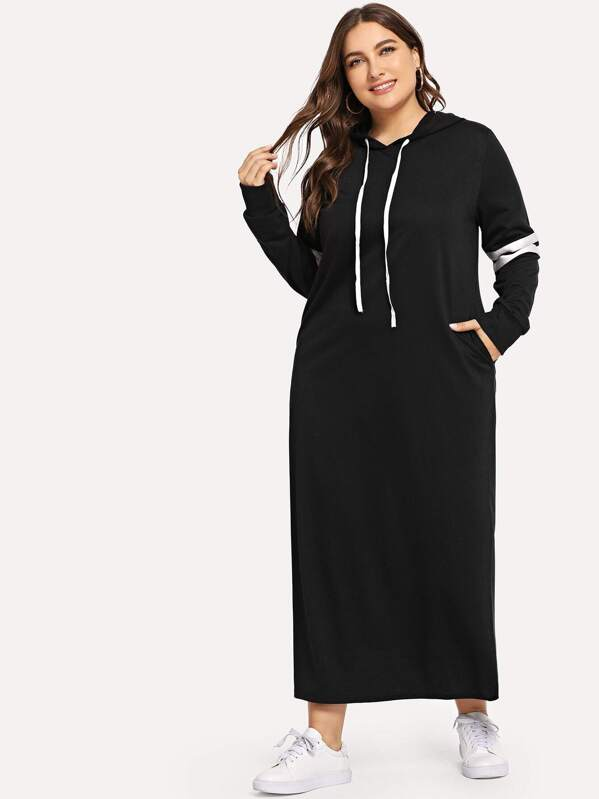 Plus Contrast Striped Side Hooded Sweatshirt Dress | SHEIN