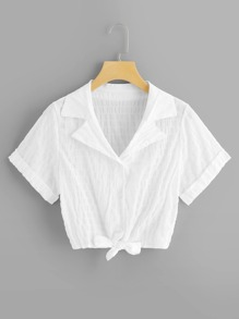 Knot Hem Single Breasted Blouse