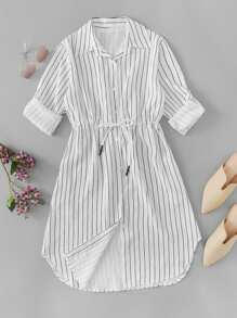 Drawstring Waist Single Breasted Striped Dress
