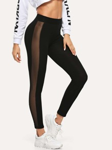 Sheer Mesh Panel Side Leggings