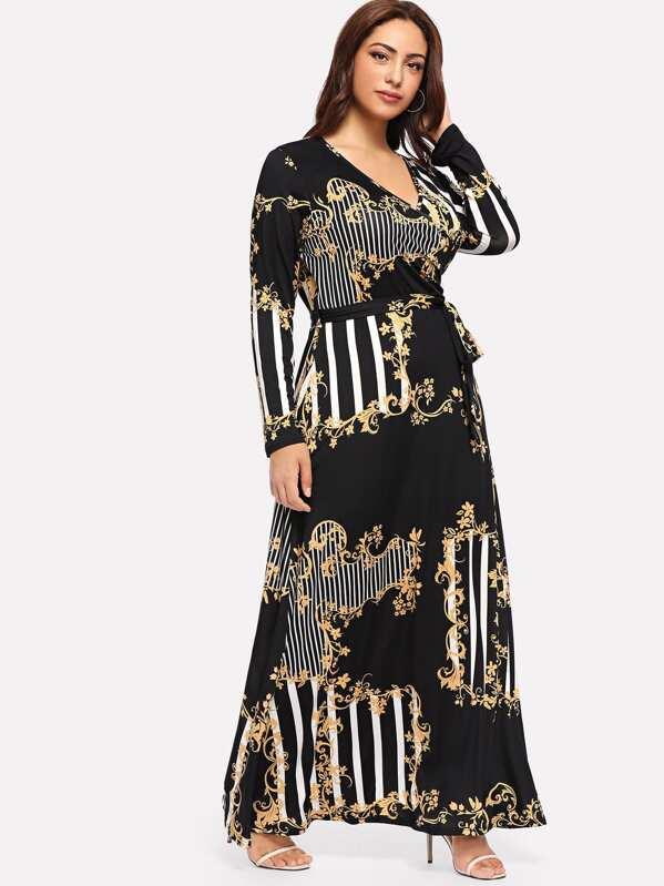 67f24039ba32f0 Plus Mixed Print Wrap Maxi Dress | SHEIN UK