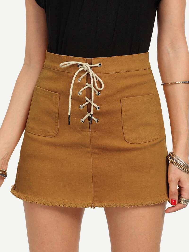 ce87f137e4296 Lace-Up Fly Dual Pocket Raw Hem Skirt - Yellow
