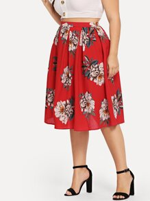 Plus Box Pleated Floral Skirt