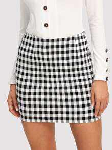 Wide Waistband Plaid Skirt