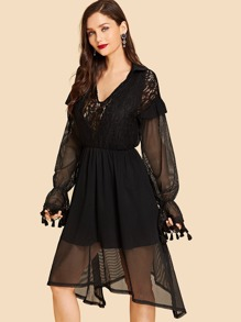 Lace Insert Tassel Hem Collar Dress