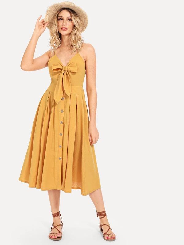 3c99c8c72b Bow Tie Button Through Peekaboo Cami Dress -SHEIN(SHEINSIDE)
