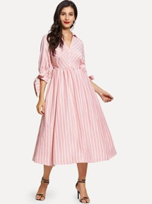 Knot Sleeve Half Placket Dress with Buckle Belt