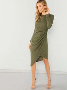 Twist Side Wrap Asymmetrical Dress