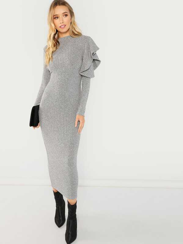 152e240d35 Ruffle Detail Solid Dress | SHEIN