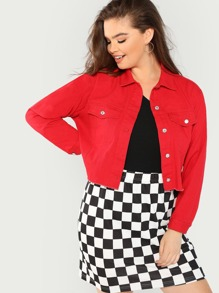 Plus Raw Hem Crop Buttoned Jacket