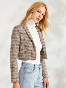 Shawl Collar Snap Button Crop Jacket