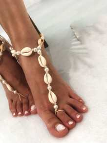 Shell Anklet With Linked Finger