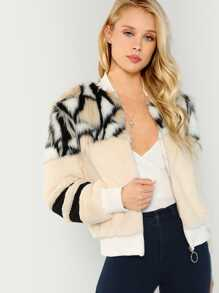 O-Ring Zip Up Faux Fur Coat