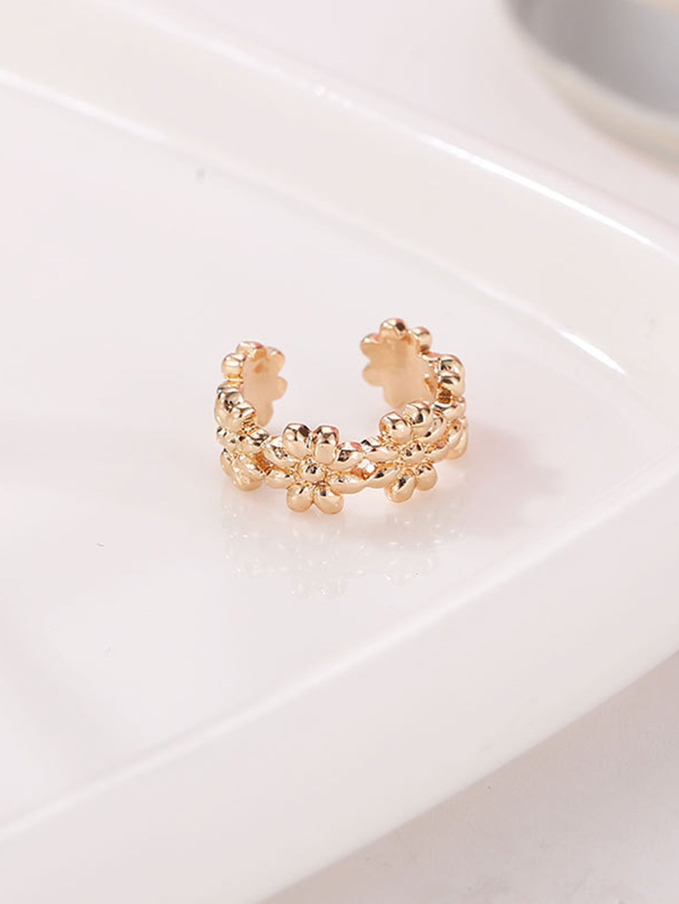 Flower Shaped Metal Ear Cuff 1pcFor Women romwe