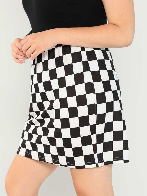 20a85f9cf29 Plus Elastic Waist Checked Skirt
