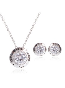 Rhinestone Necklace & 1pair Stud Earrings