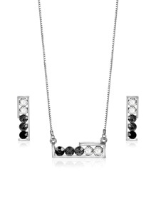 Two Tone Rhinestone Bar Necklace & Earrings