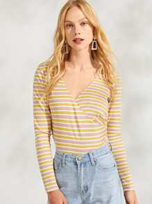 Wrap V-Neck Striped Tee