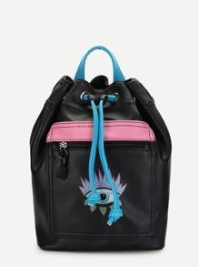 Eye Print Color-block Drawstring Backpack