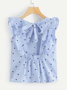 Heart Print Tied Open Back Ruffle Top