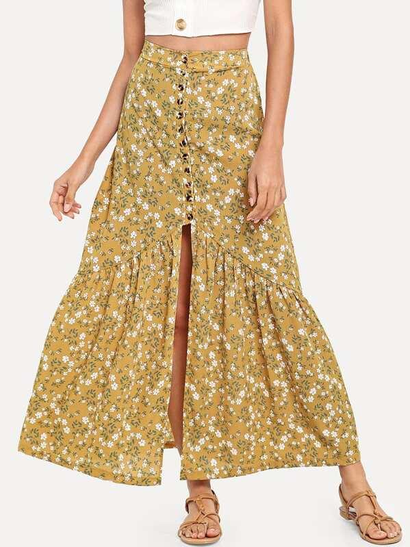 boutique de salida volumen grande más de moda Falda larga de flores con botones